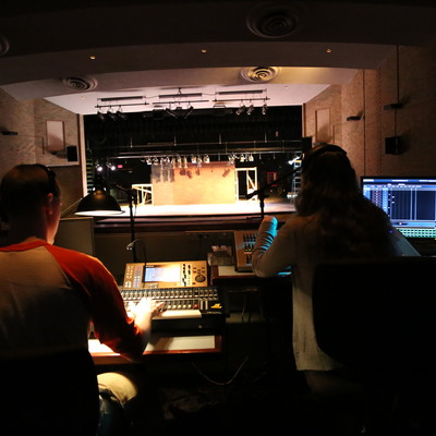 Ohio State Lima theatre students practice lighting and sound operating in the Martha W. Farmer Theatre for the Performing Arts.