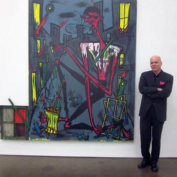 image of artist Rick Prol with a painting