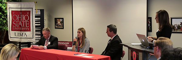 Alumni panel at Ohio State Lima Advocates meeting, Oct. 23, 2015.