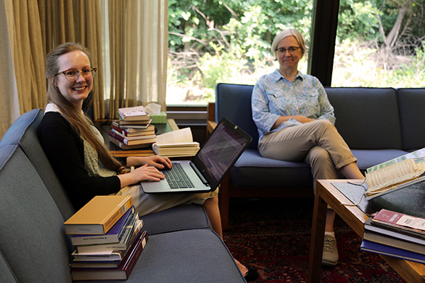 Emily Preston and Tina Schneider in the Lima Campus Library