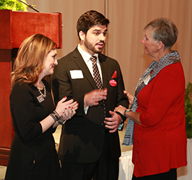 Altha Brooks (right) talks to scholarship recipient and student speaker Levi Brake and Lesley Fry, Ohio State Lima's director of Advancement.